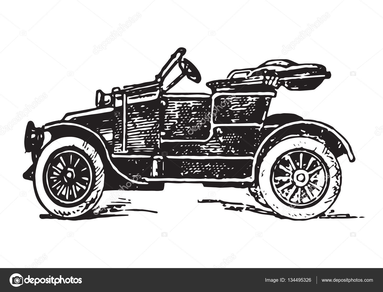 Voiturette car vintage engraving — Stock Vector © EnginKorkmaz ...