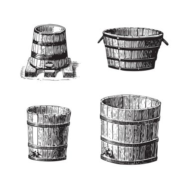 Set of wine barrel engravings