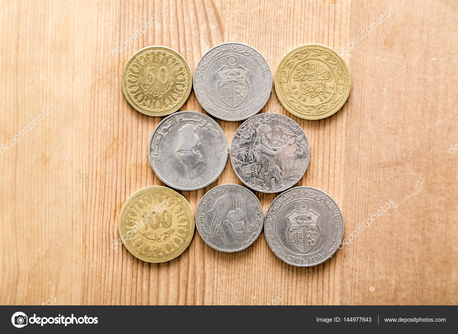 Tunesische Währung Tunesischer Dinar Auf Holztisch Hintergrund