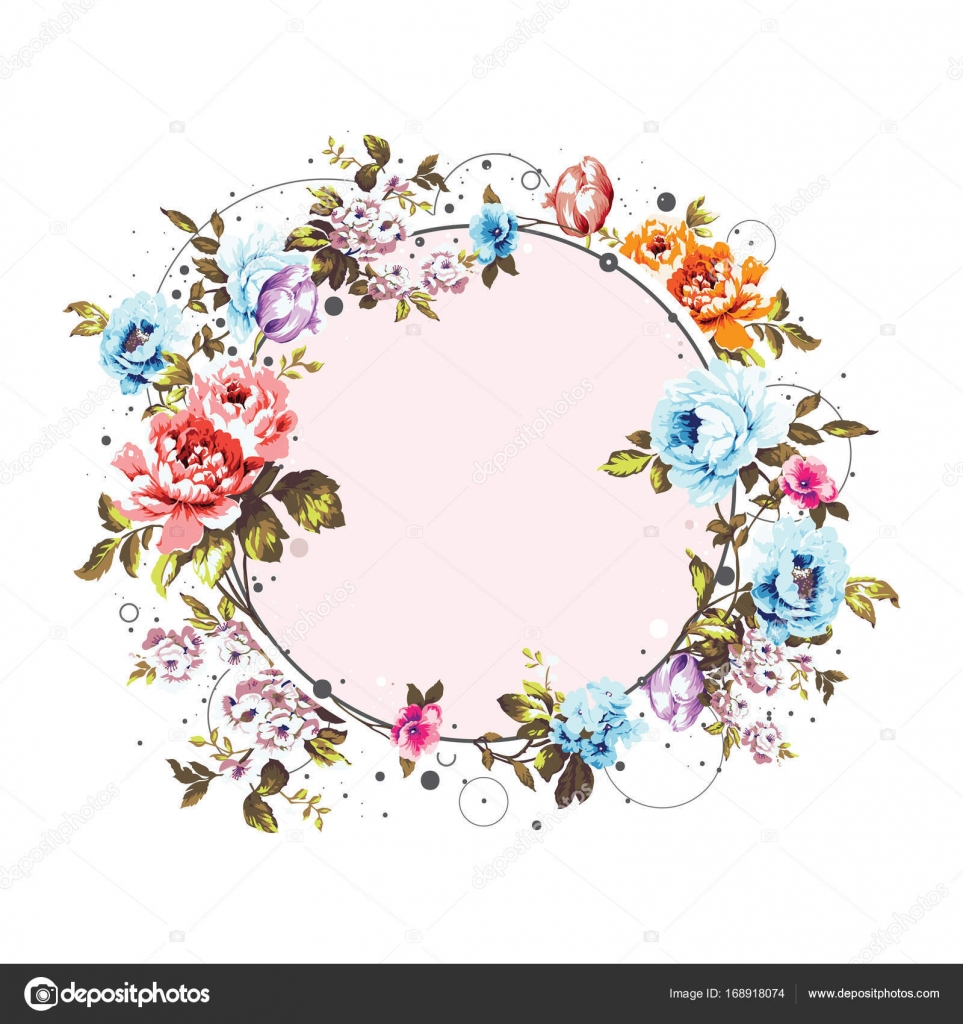 Vintage Flowers Part - 43: Circle Background With Shabby Vintage Floral Decorations, Pretty Design  Element For Cards, Covers, Invitations Etc. U2014 Vector By EnginKorkmaz