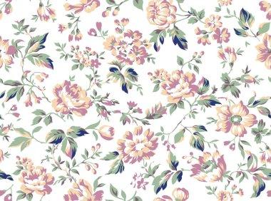 "Картина, постер, плакат, фотообои ""Vintage style floral seamless pattern design, shabby chic roses and peonies repeating background for web and print"", артикул 351777072"