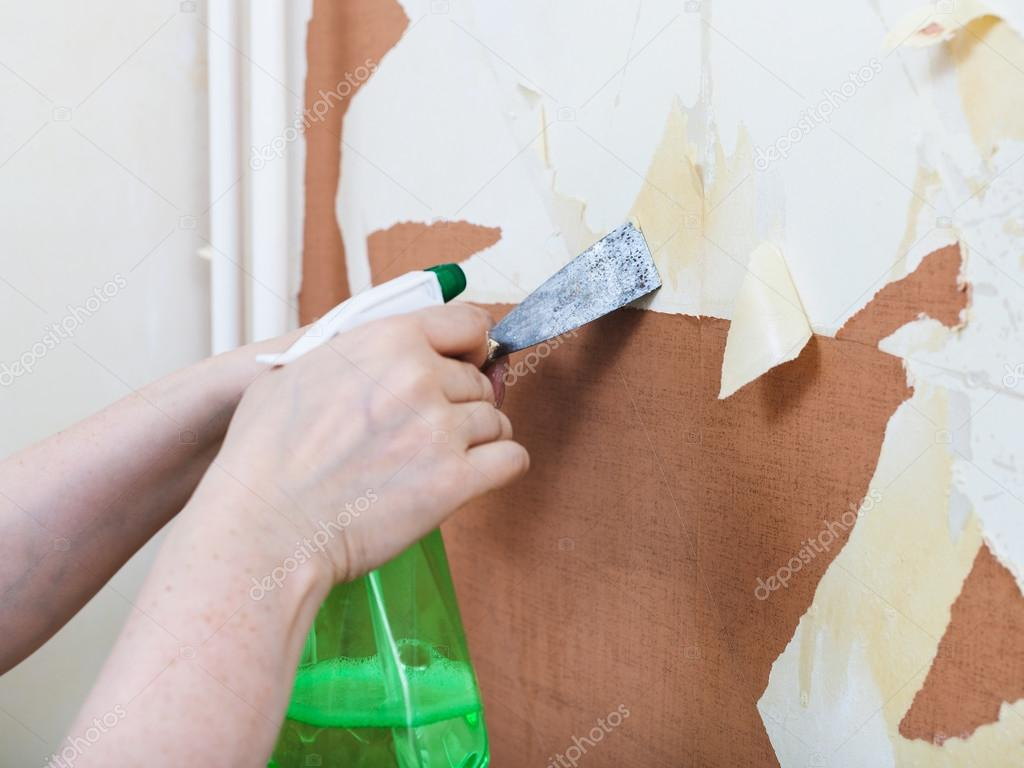 Removing Of Old Wallpaper With Chemical Stripper Stock Photo