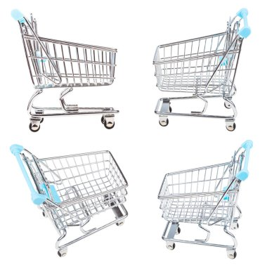 set from empty shopping carts isolated