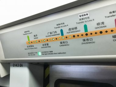 scheme of subway line 7 in train in Beijing