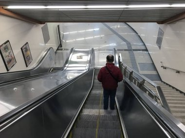 staircase of zhushikou Station in Beijing