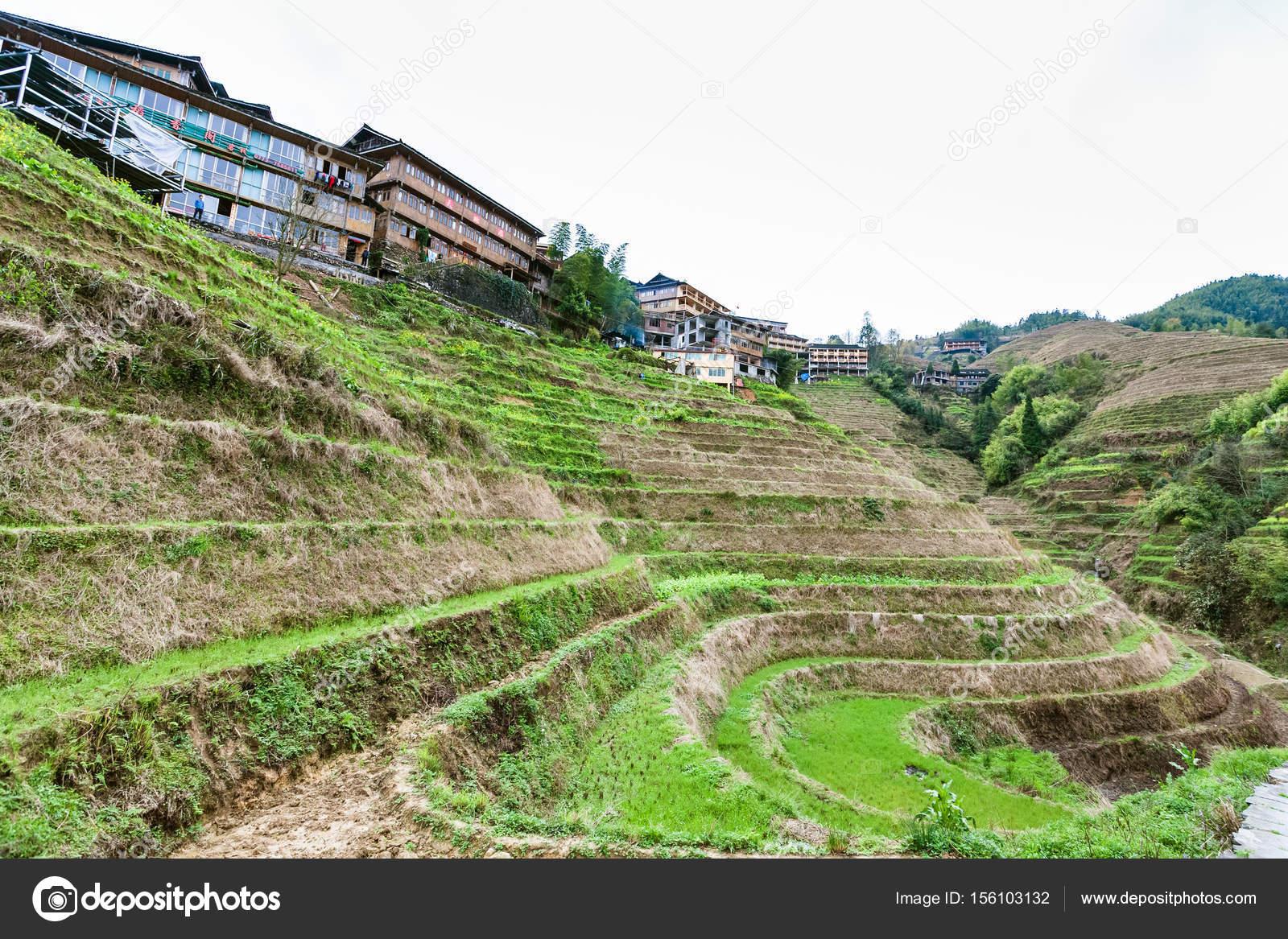 vista giardino terrazzato a Dazhai village — Foto Editoriale Stock ...