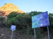 ecological board on beach Falesia near Albufeira