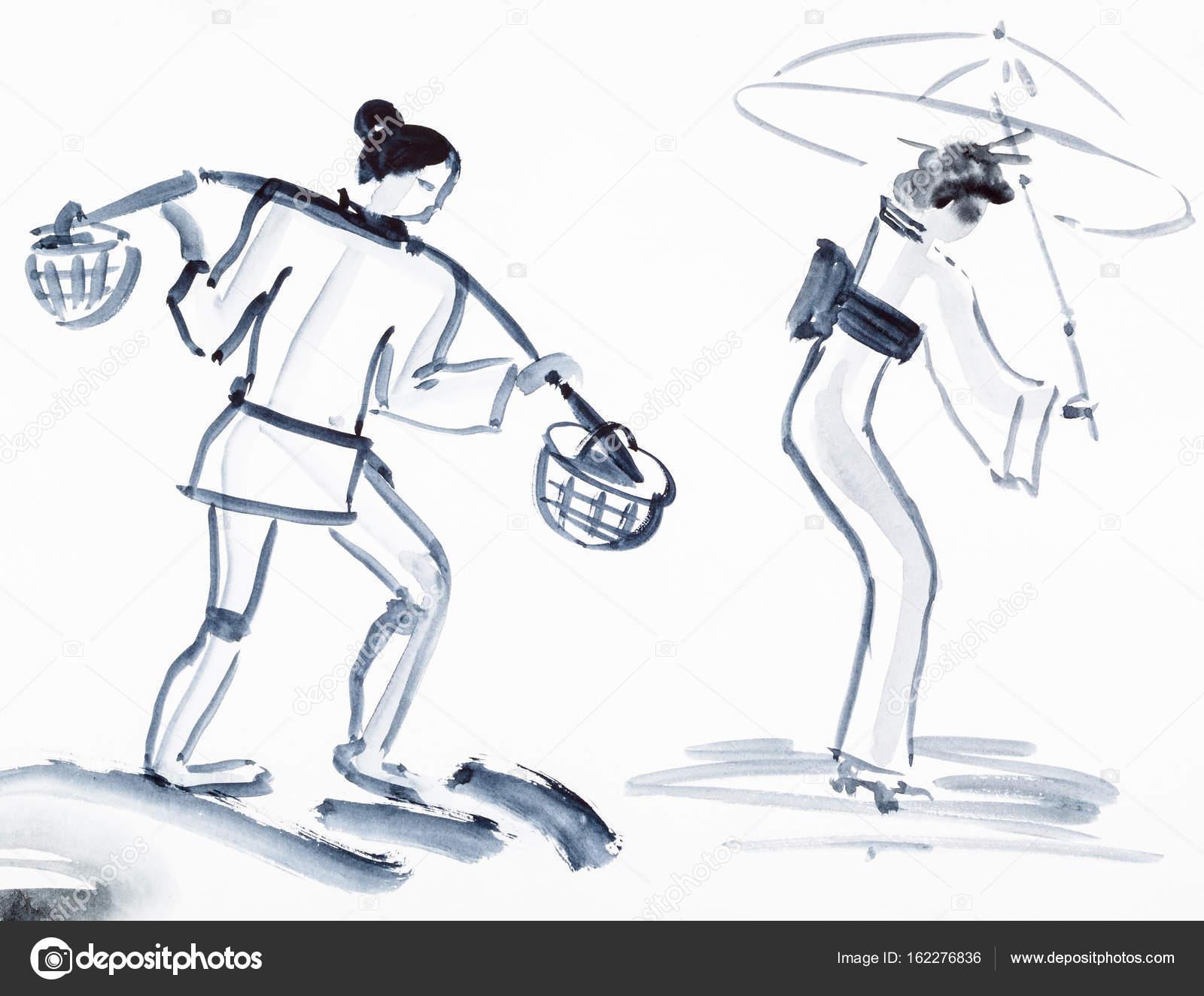Bauer Mit Joch Und Japanische Frau Mit Regenschirm Stockfoto