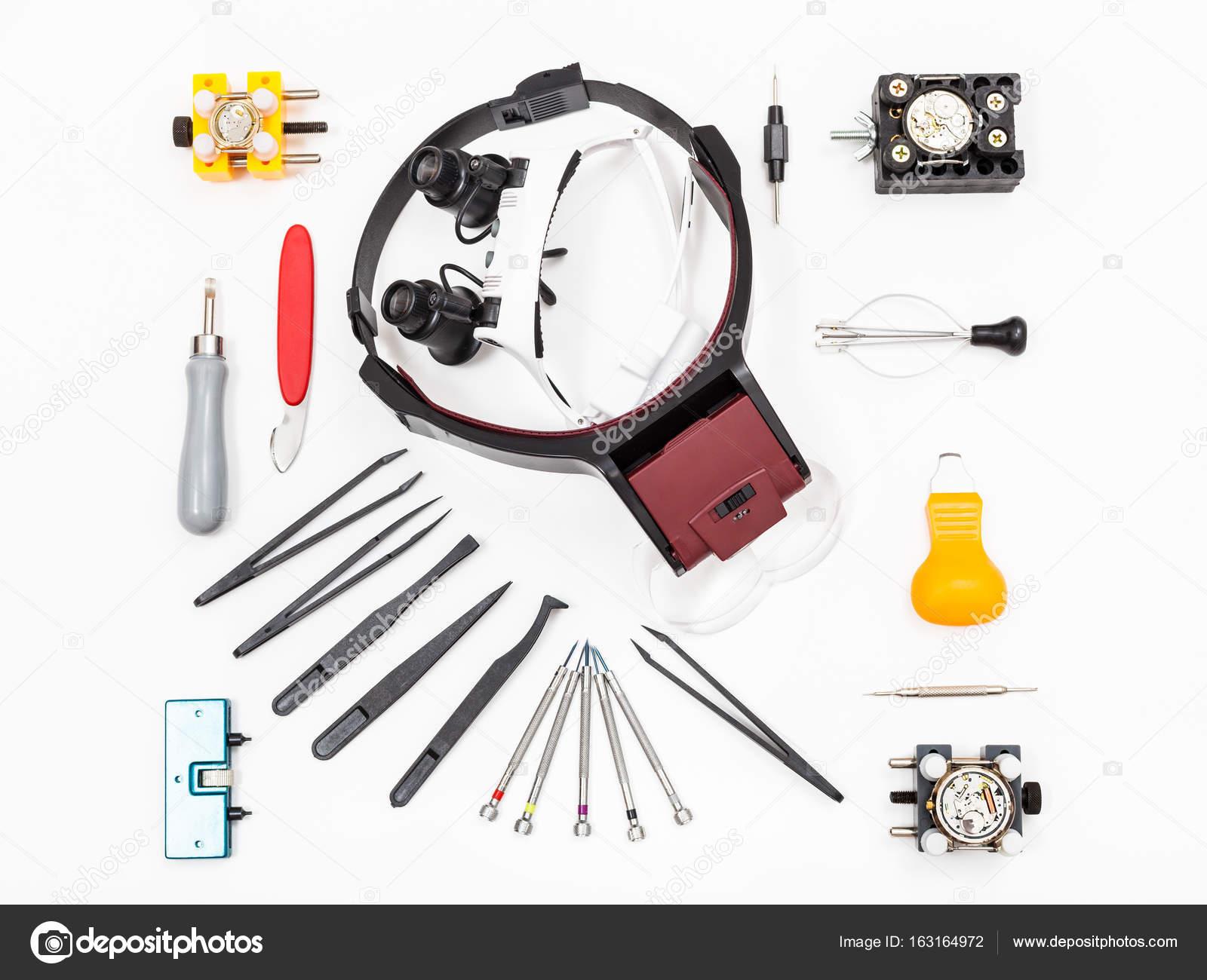 verschiedene Instrumente für die Reparatur von Uhren — Stockfoto ...
