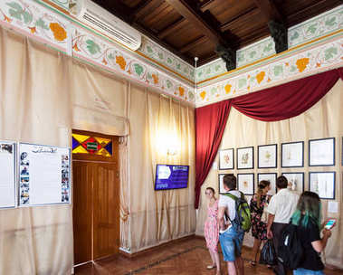 visitors inside of Swallow Nest Castle in Crimea