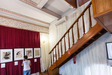 tourist inside of Swallow Nest Castle in Crimea