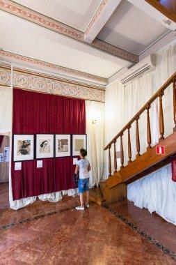 tourist inside of Swallow's Nest Castle in Crimea