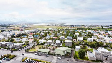 aerial view of neighborhood in Reykjavik city