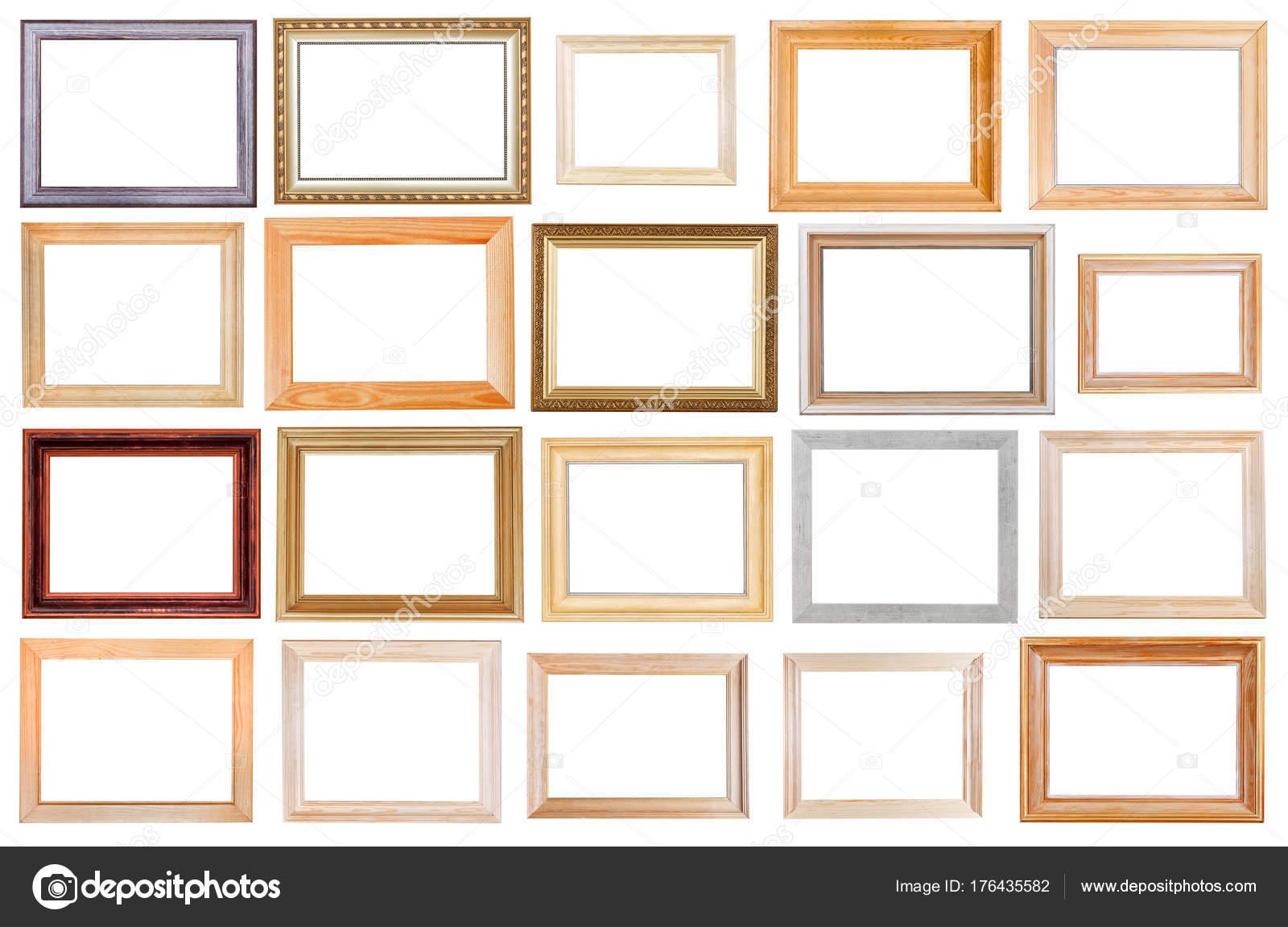 conjunto de marcos de madera ancho aislado — Fotos de Stock ...