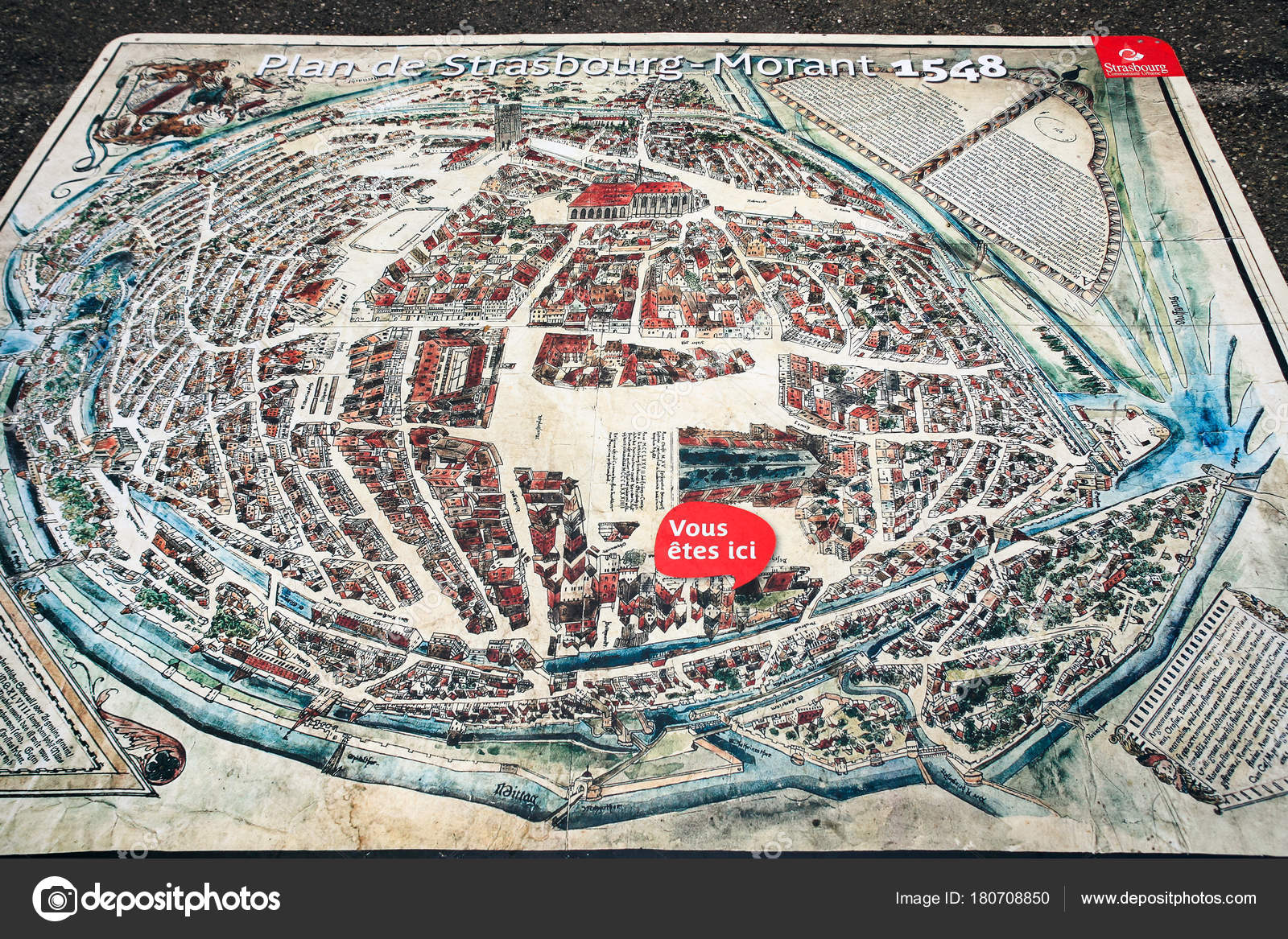 map of Strasbourg town on square Place du Chateau Stock Editorial