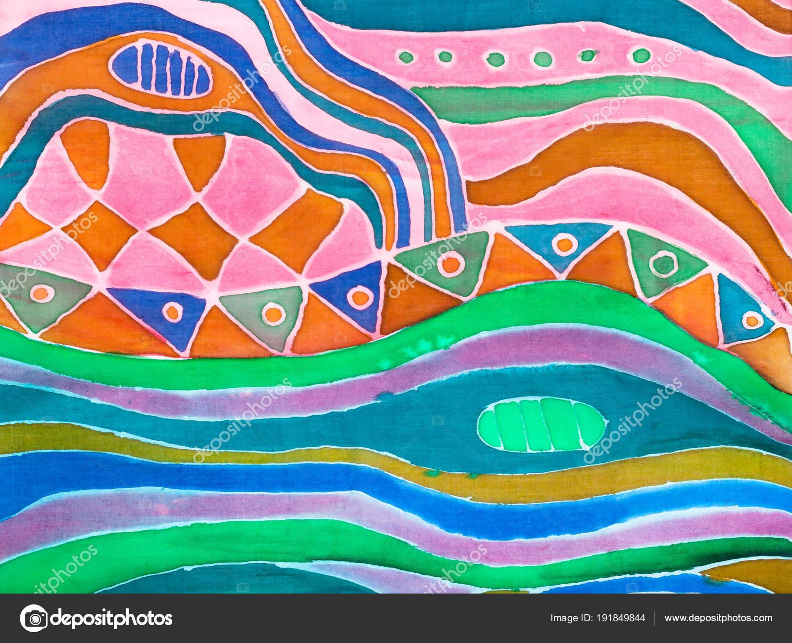 ab097b20e159 Modèle abstrait sur foulard en soie peint en technique de froid contour  batik — Image de vvoennyy