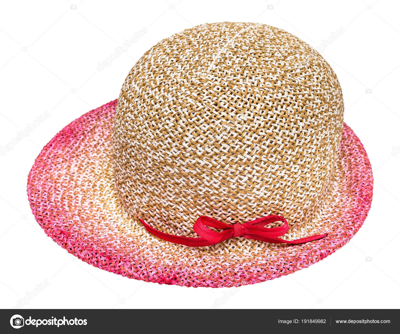 Side view of straw hat with pink colored narrow brim isolated on white  background — Photo by vvoennyy 37334325f75d