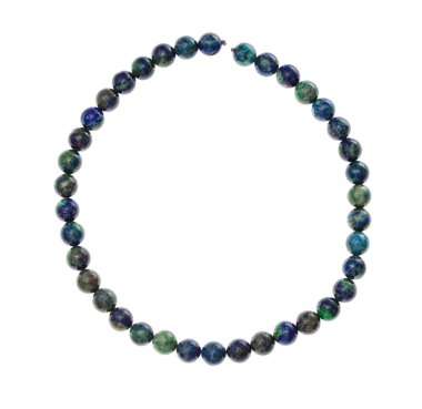 string of beads from natural azurite gemstone