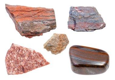 set of various Quartzite rocks isolated on white background