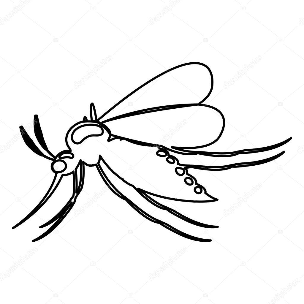 Aislado y mosquitos silueta de diseño — Vector de stock ...