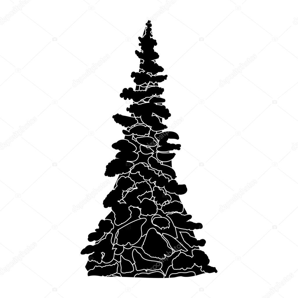 Silhouette Darbre De Noël Noir Et Blanc Image Vectorielle