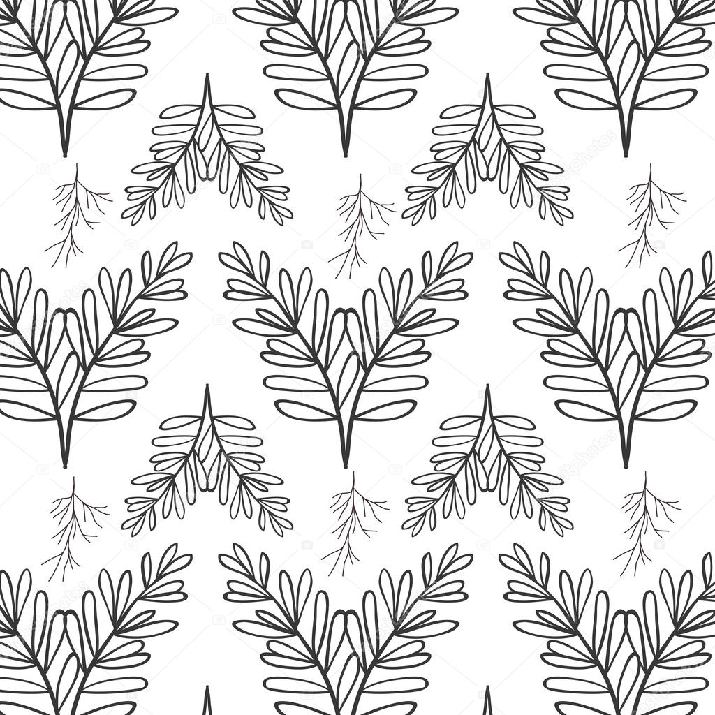 pattern oval leaves and branches