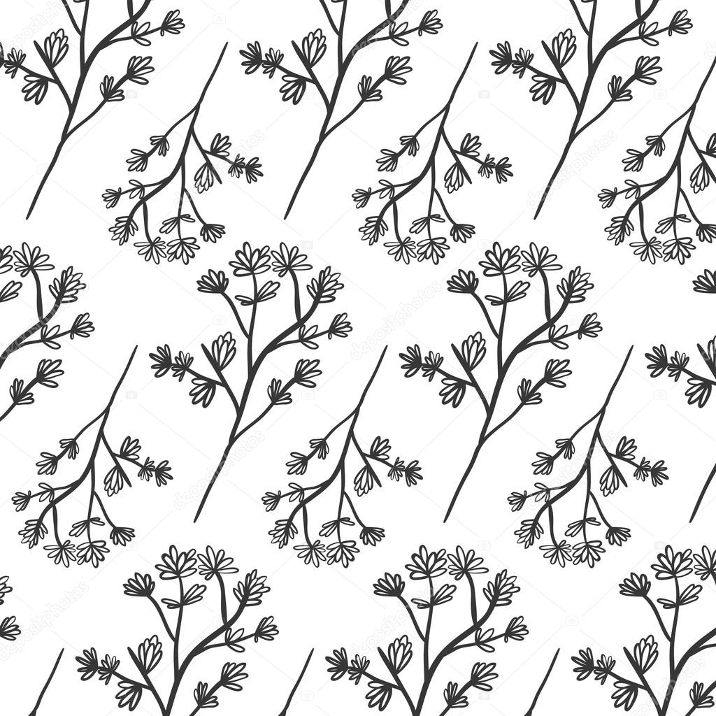pattern plant with ramifications and flowers