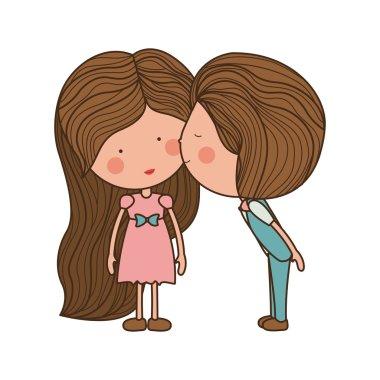 boy kissing girl in cheek