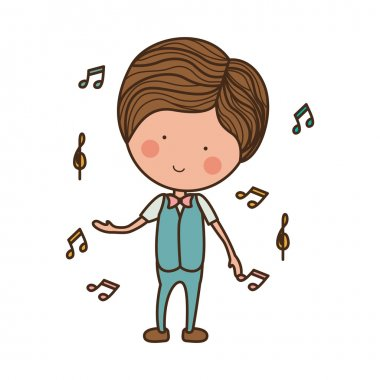 man dancing with musical notes