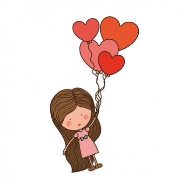 girl dragged by heart-shaped balloons