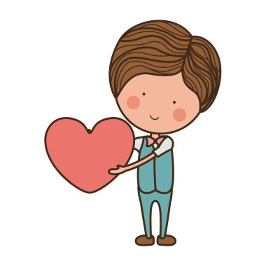 man formal suit holding heart