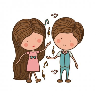 couple dancing with musical notes