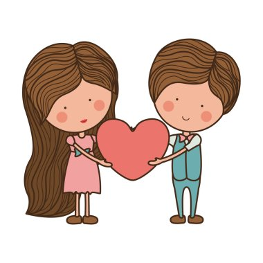 couple holding heart with striped hair