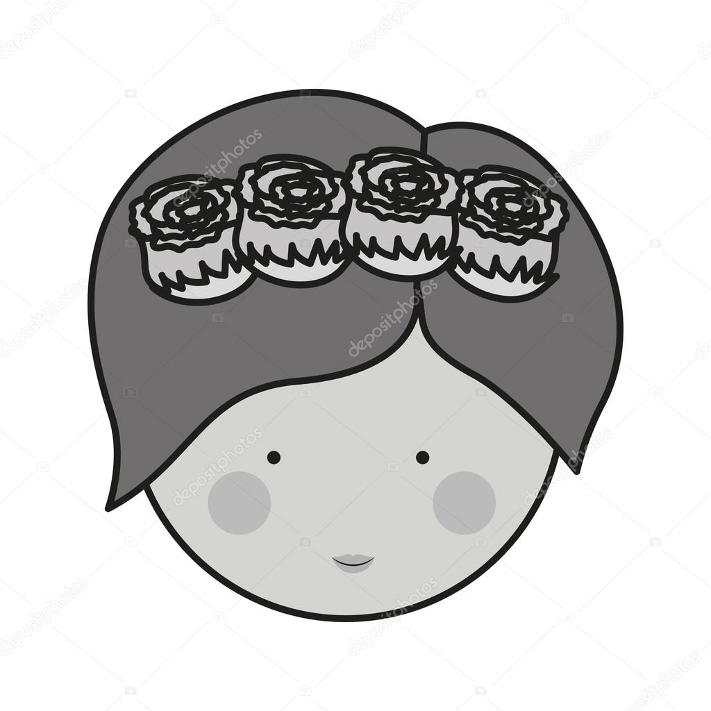 Monochrome Front Face Woman And Crown Of Roses In Hair Vetores De