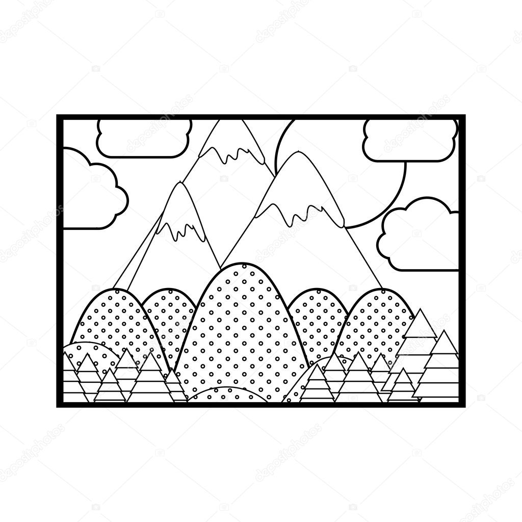 Silhouette picture of landscape with lines and points