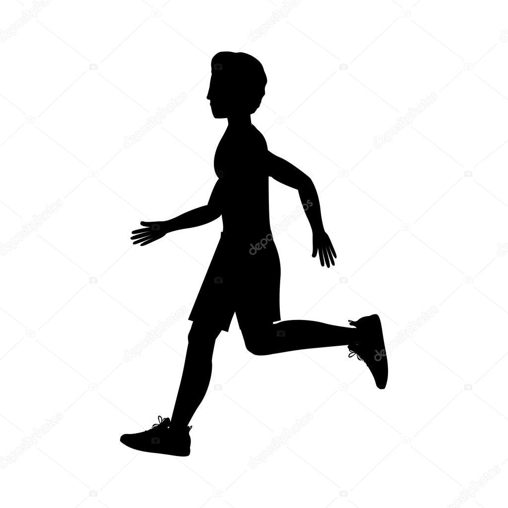 homem de silhueta correndo lado esquerdo vetores de stock