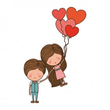 man holding girl floating with heart-shaped balloons