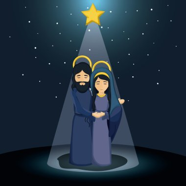 Mary and jesus cartoon design