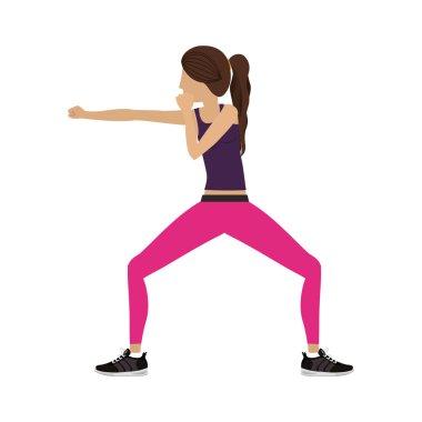 silhouette color woman martial arts defense position fist