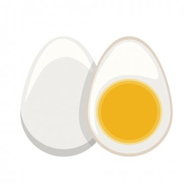 silhouette color boiled egg and half boiled egg