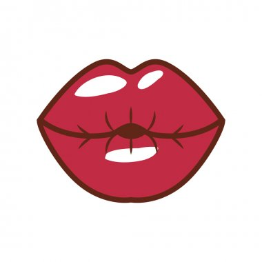 red lips giving kiss with shiny