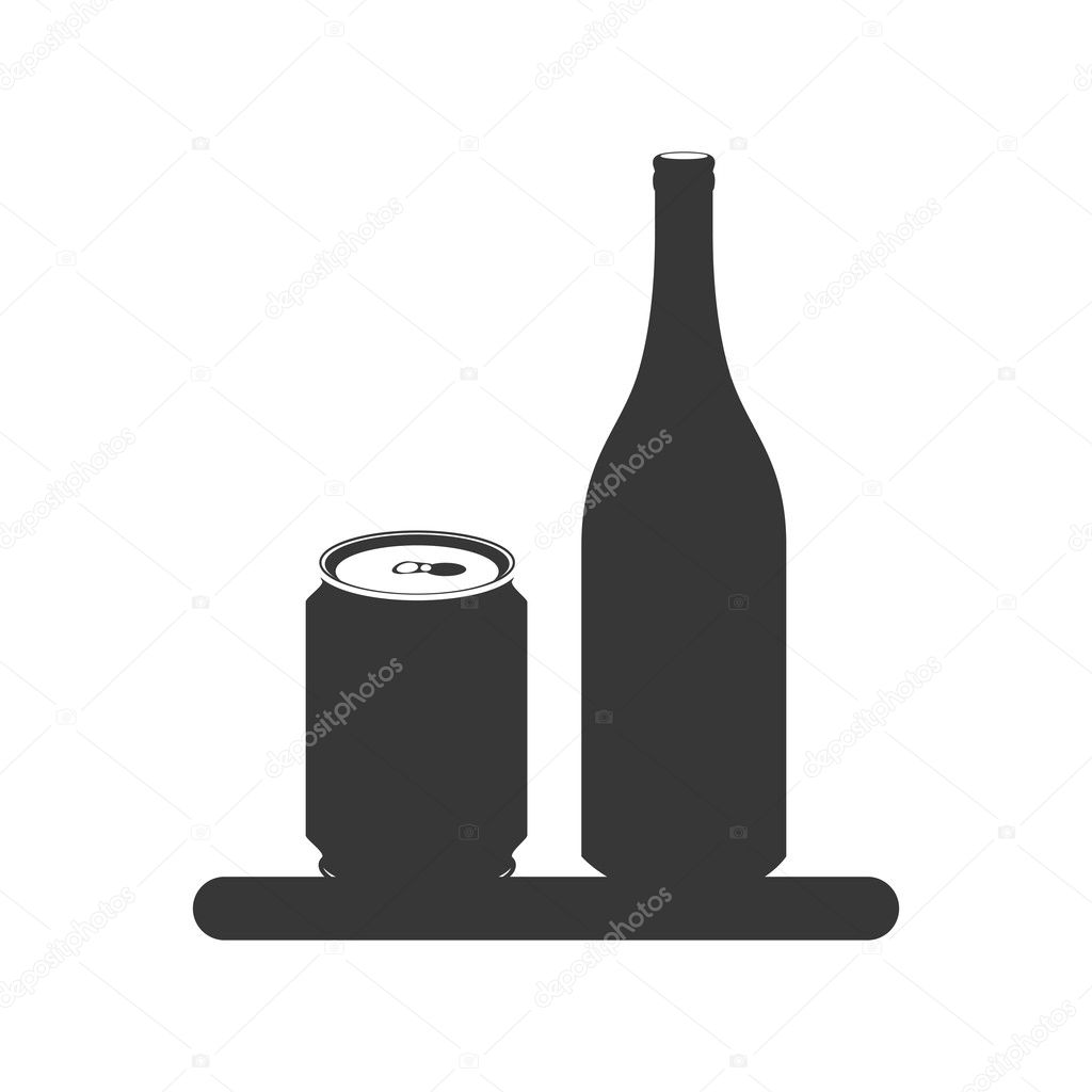 silhouette with canned drink and bottle