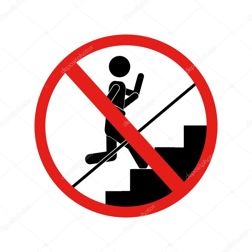 señal prohibido correr por las escaleras — Archivo ...