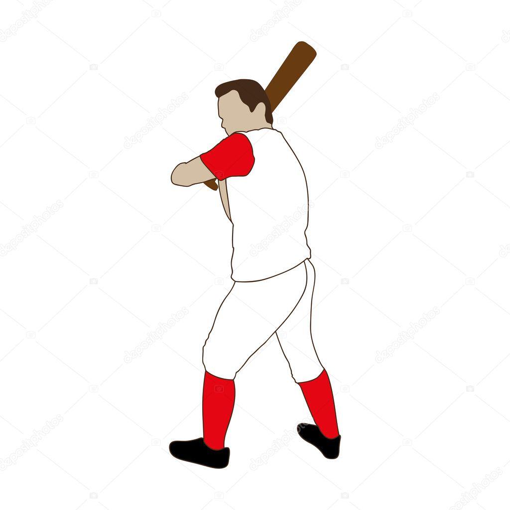 Baseball-Spieler-Symbolbild — Stockvektor © grgroupstock #128262628
