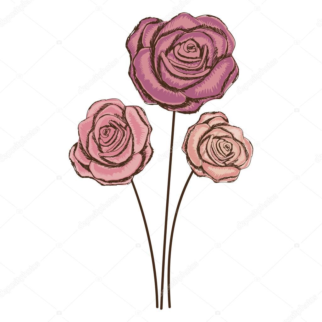 imagem de ícone desenho flor delicada vetor de stock
