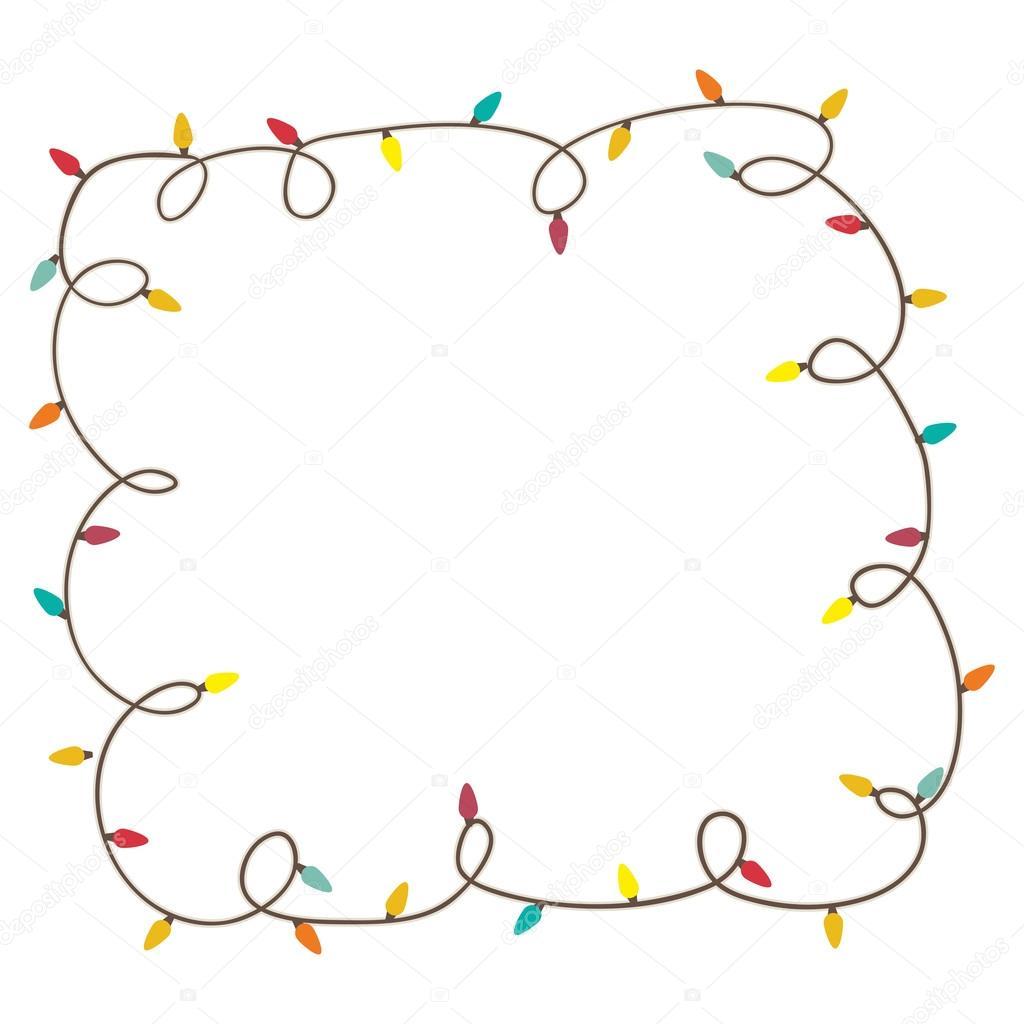 imagen de icono de marco de luces de Navidad — Vector de stock ...