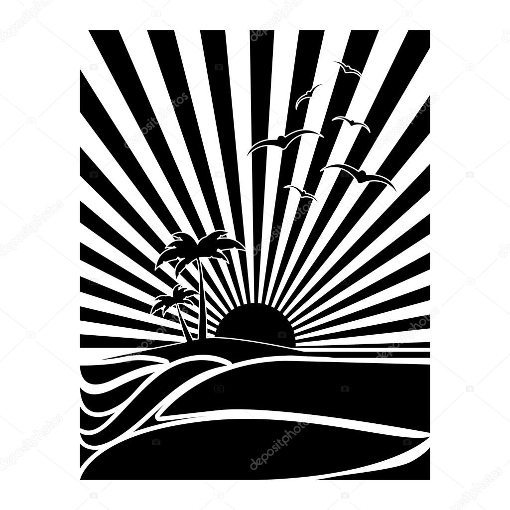 black and white tropical sunset icon image