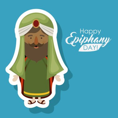 Wiseman cartoon of happy epiphany day design
