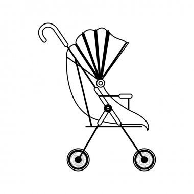 silhouette baby carriage with soft top