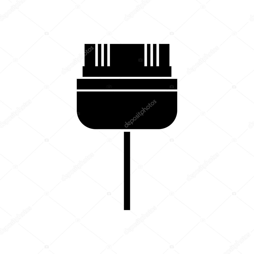 Black Silhouette Pin Connector For Video Games Stock Vector